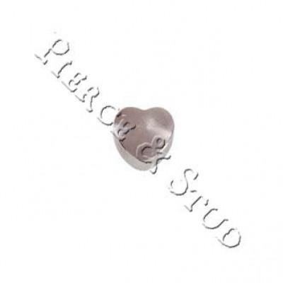 Серьги-иглы мини завальцовка Сердце - White - Mini