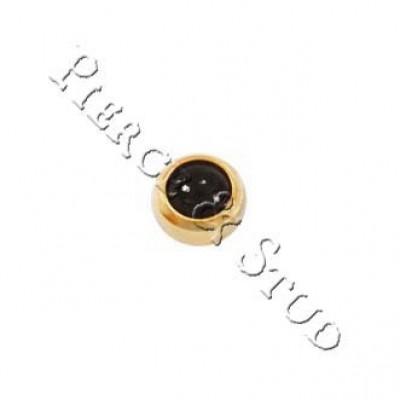 Серьги-иглы мини завальцовка Черный оникс - Mini