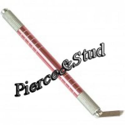 Ручка для микроблейдинга двусторонняя розовая